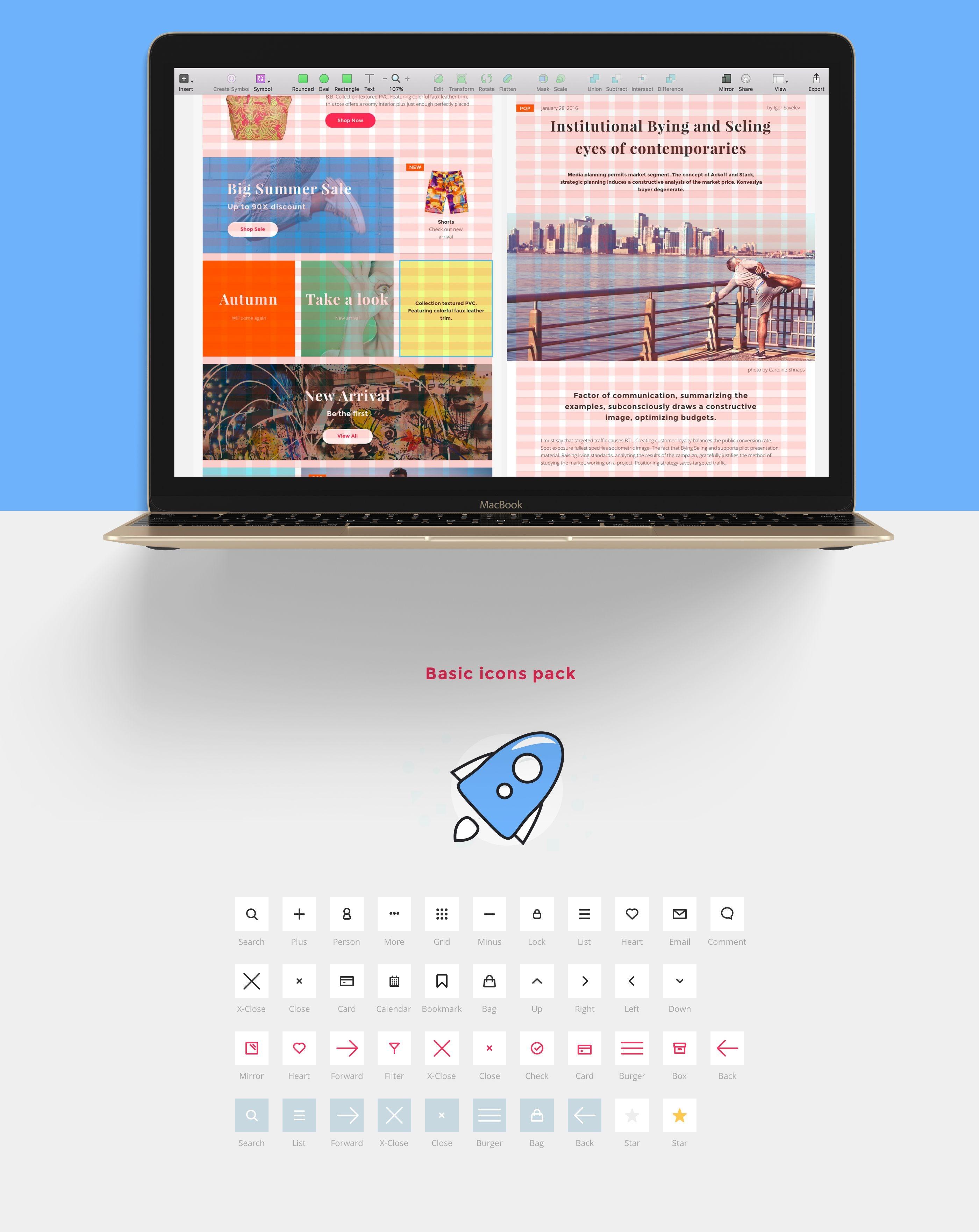 UI Design Paket für Online Shops -Raster System