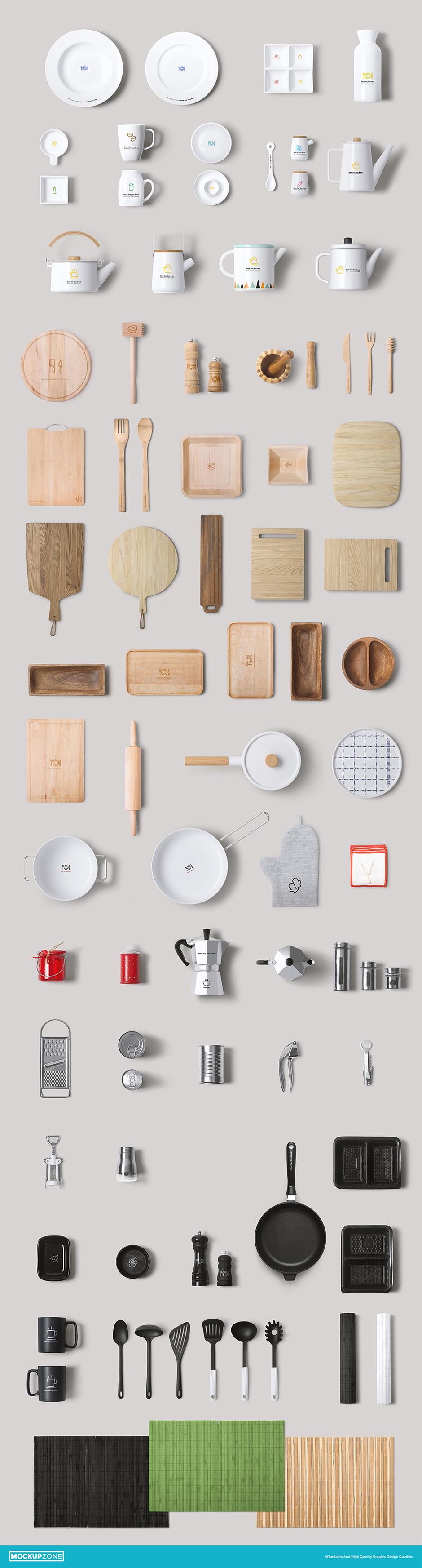 Küchen Utensilien Mockup für Präsentationen