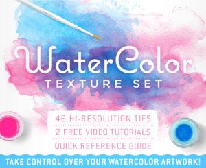 Wasserfarben, Aquarell Texturen und Pinsel für Photoshop und Illustrator
