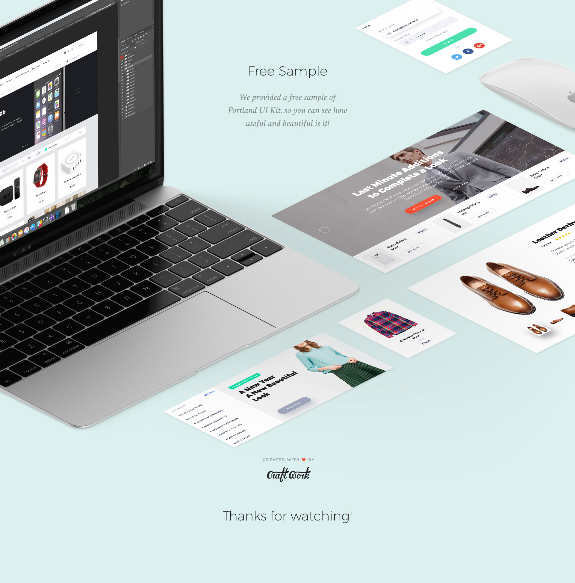 UI Design Kit Beispiel Mockup- Elemente des User Interface Pakets