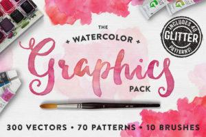 Wasserfarben Grafik Paket -Watercolor Graphic Pack