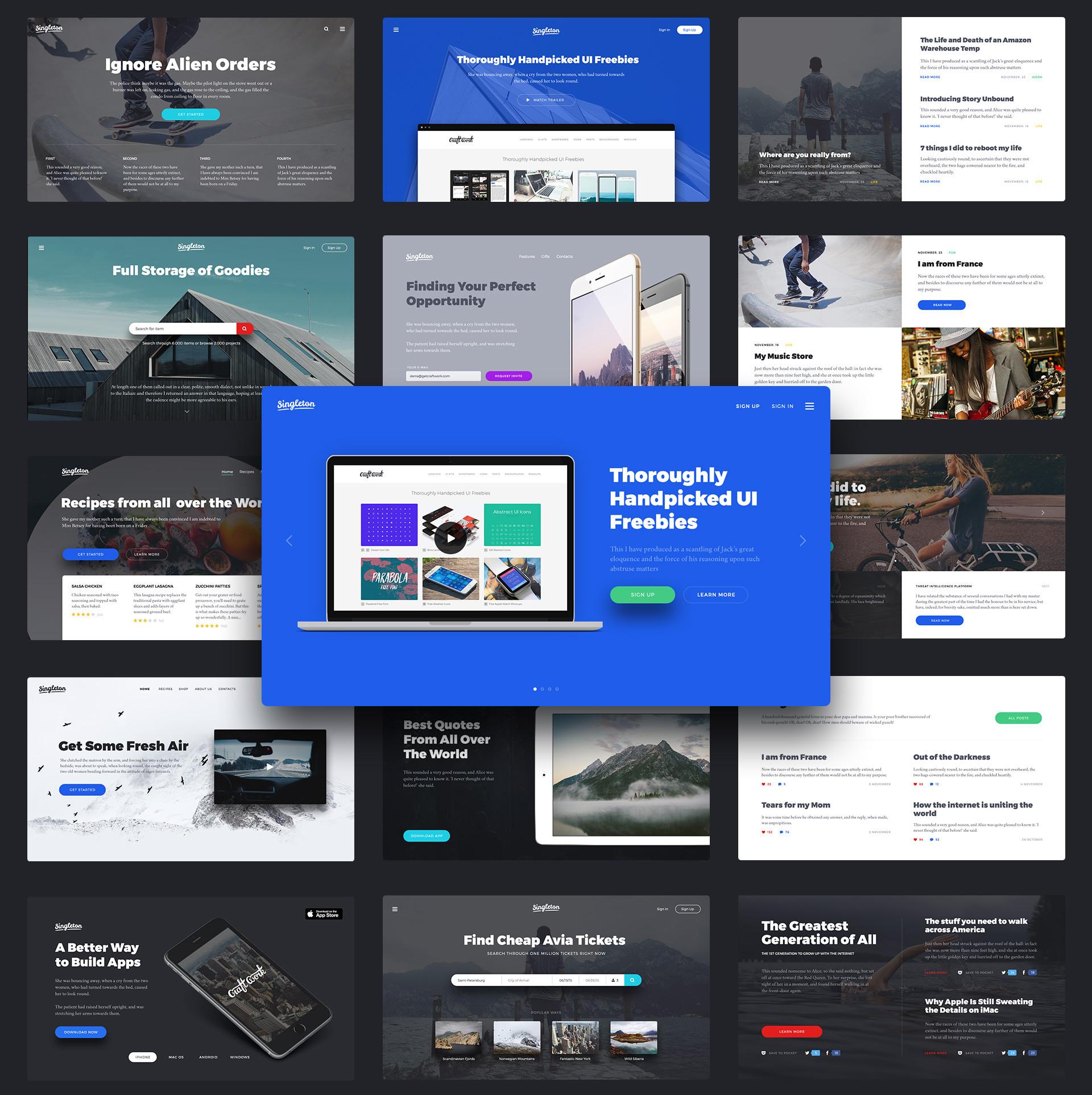 User Interface Landing PageDesign Kit für UI Designer und Webdesiger