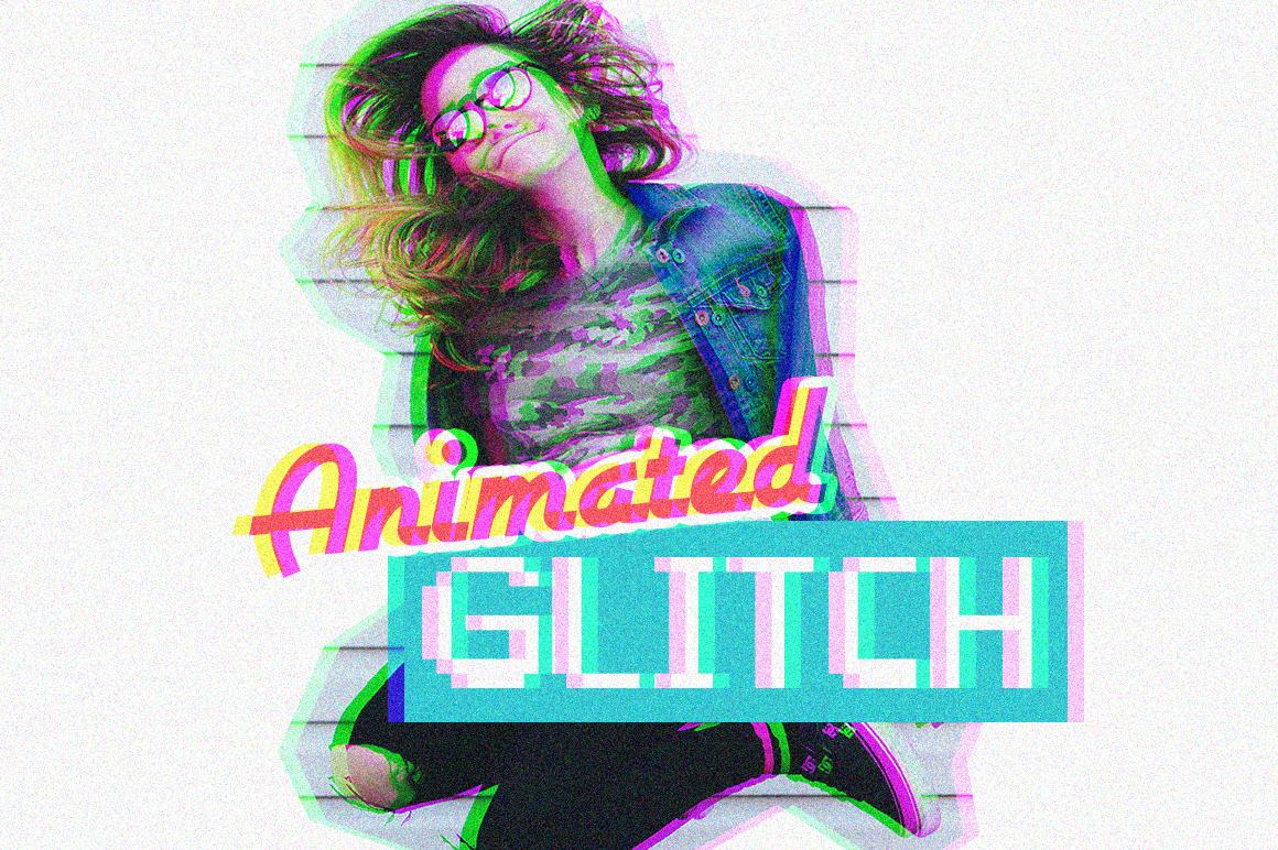 Animierter Glitch Effekt, kostenlose PSD Aktion
