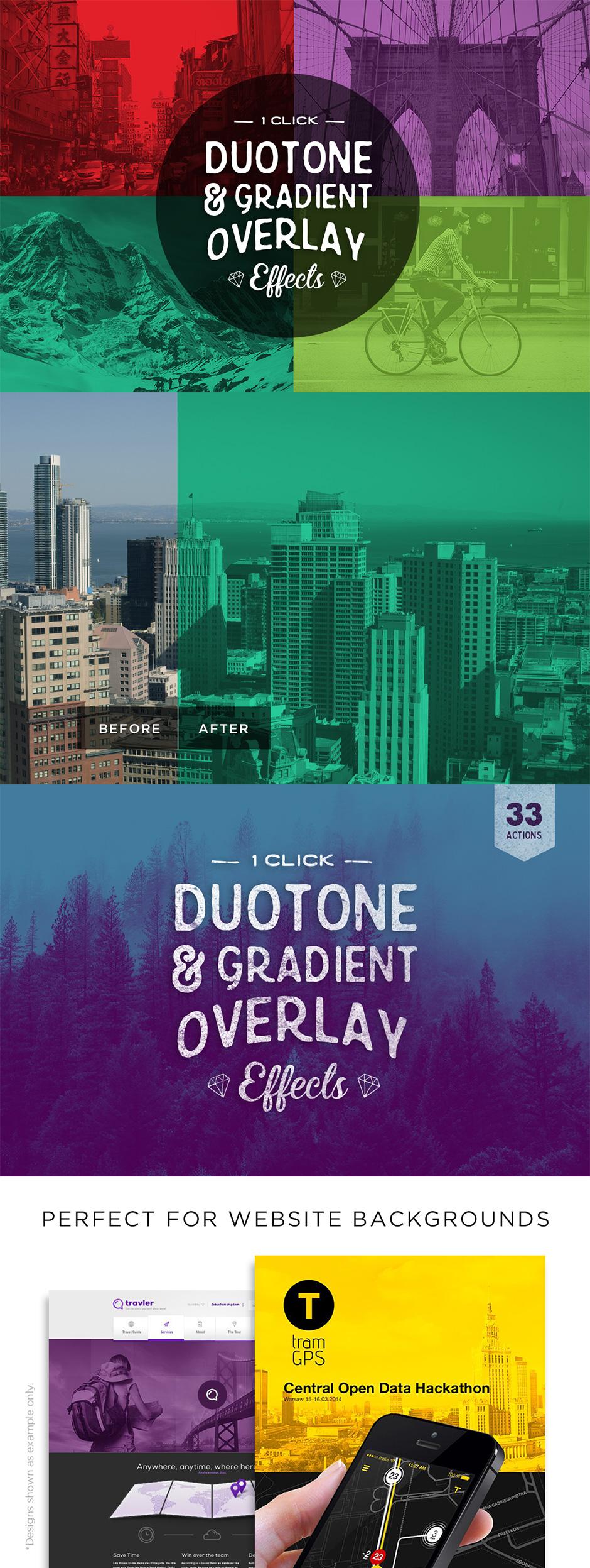 Duotone und Farbverlauf Effekt mit der Doutone Photoshop Aktion erstellen