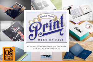 Print Design Mockup Set - Präsentationsvorlagen im Photoshop Format