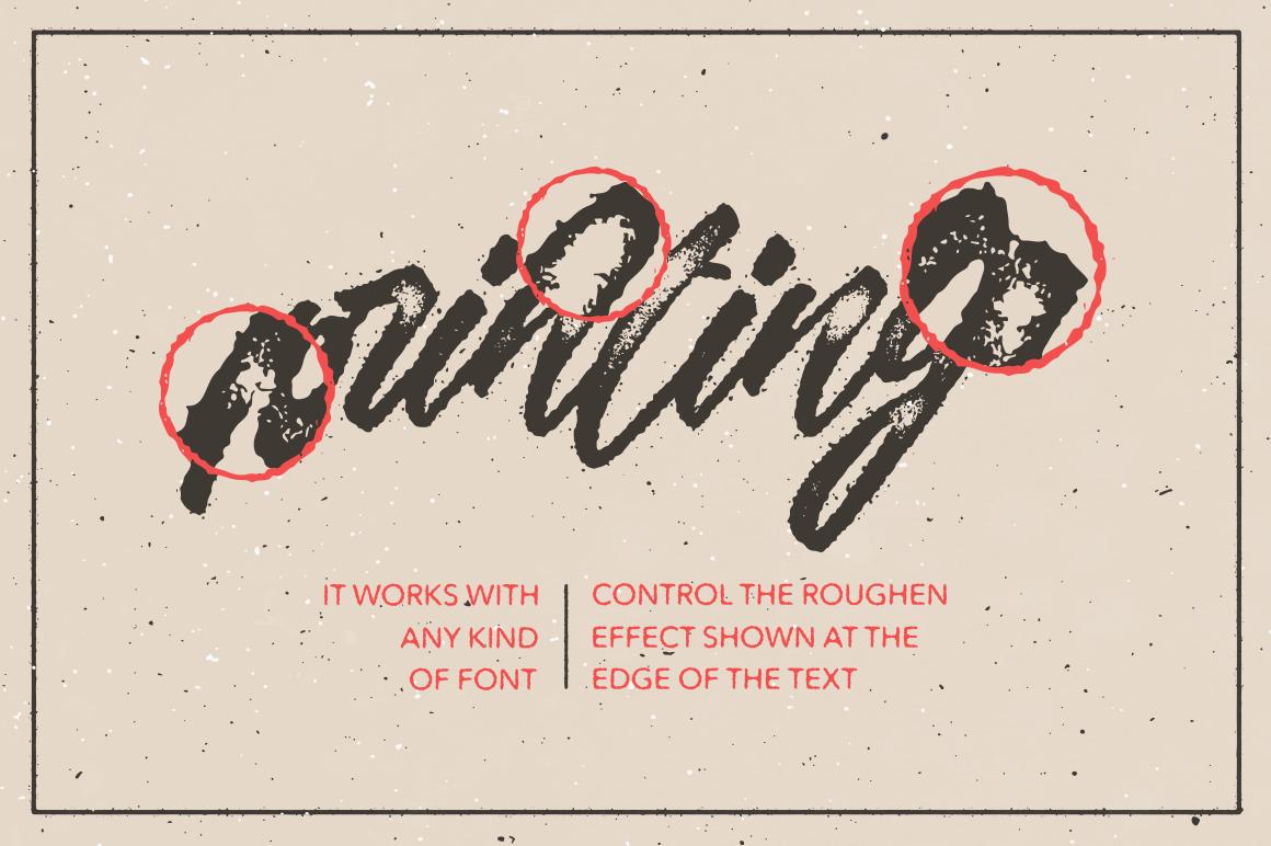 Illustrator Aktionen, Design Ressourcen, Gutenberg Letterpress Aktion für Illustrator arbeitet mit jeder Schrift