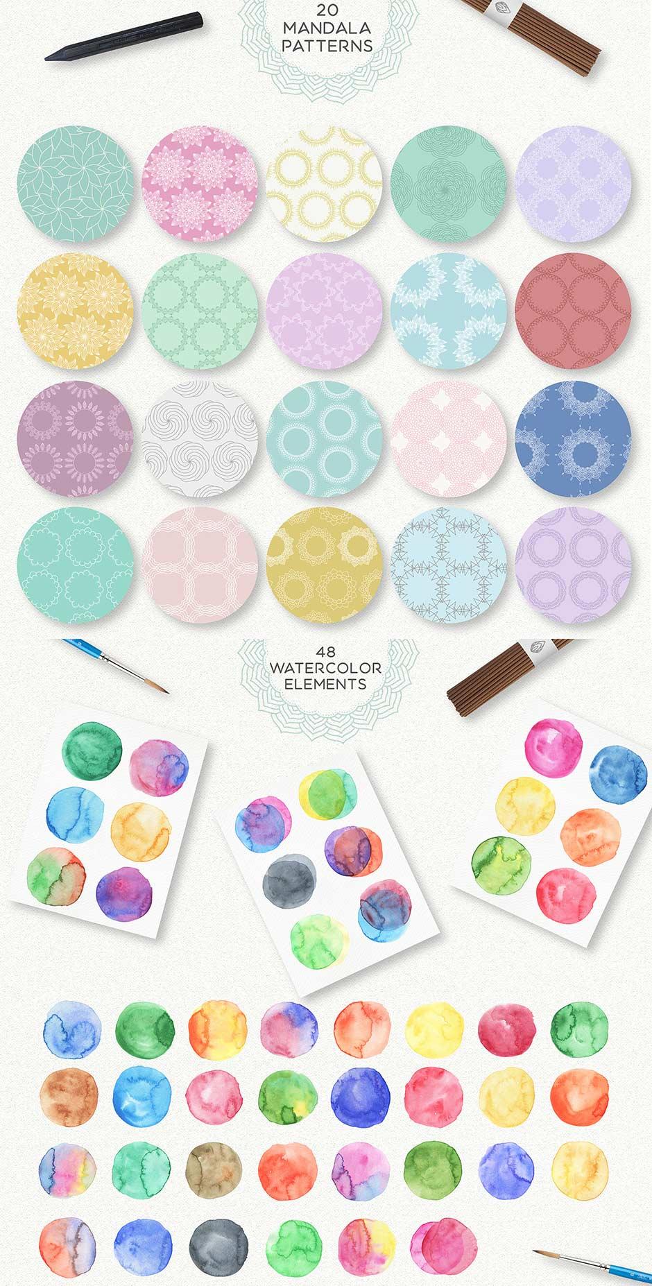 Mandala Aquarell Design Packet