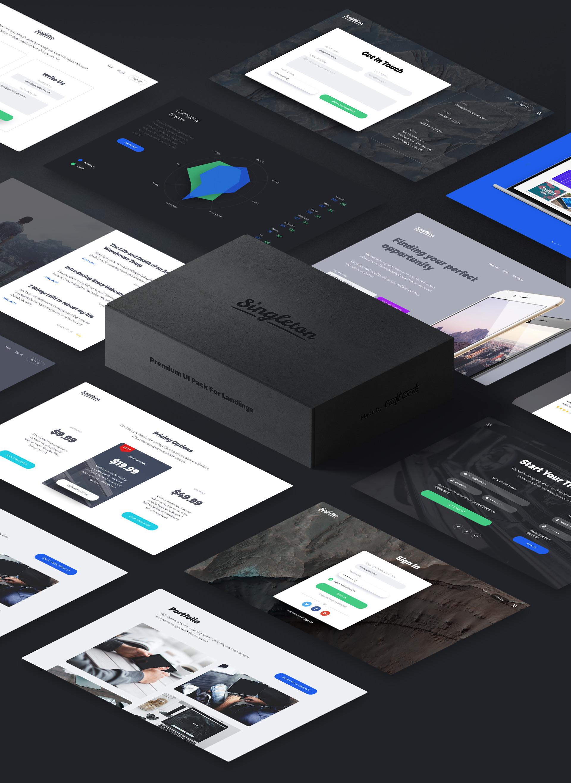 UI Kit für Landingpages im Photoshop und Sketch Format