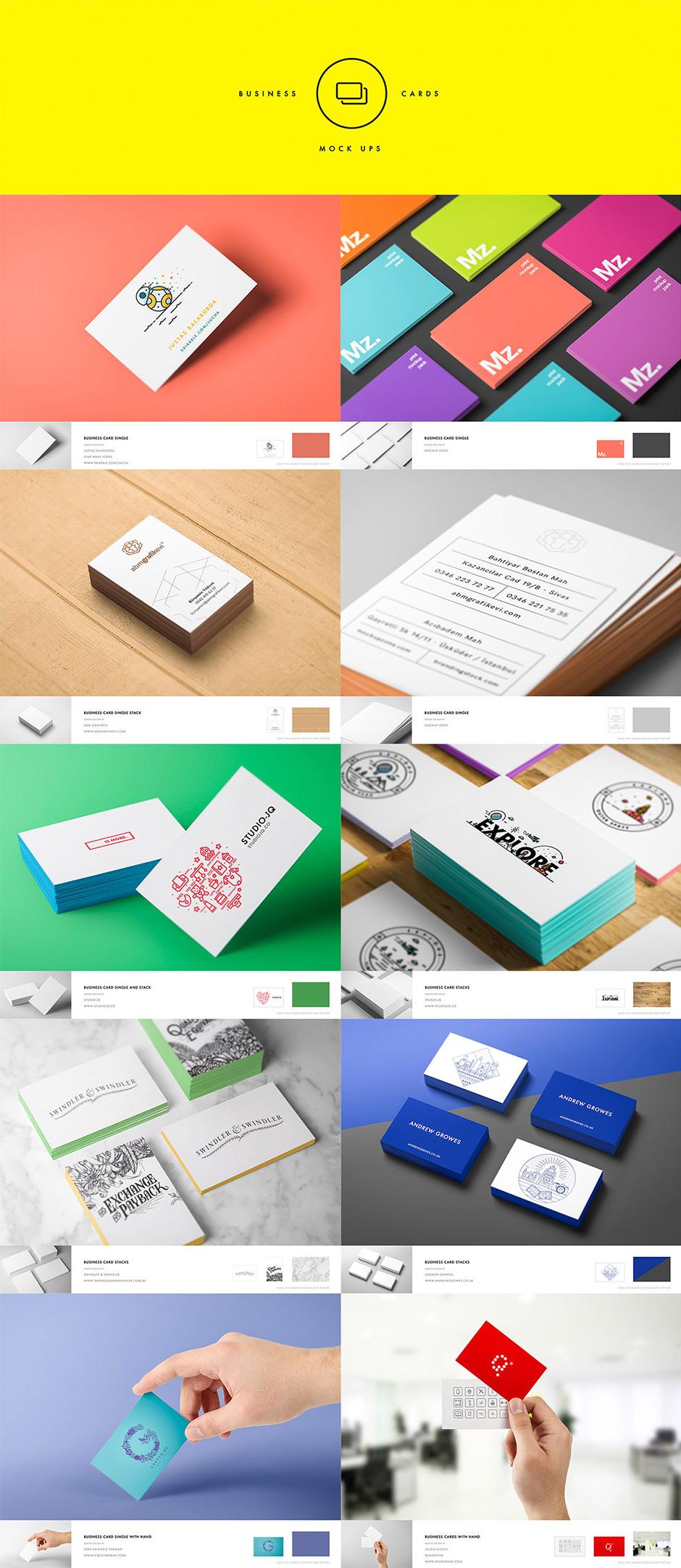 Visitenkarten Mockups für die Präsentation deiner Corporate Designs