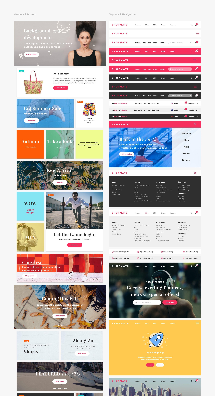 UI Design Kit für Shops - Elemente des Pakets