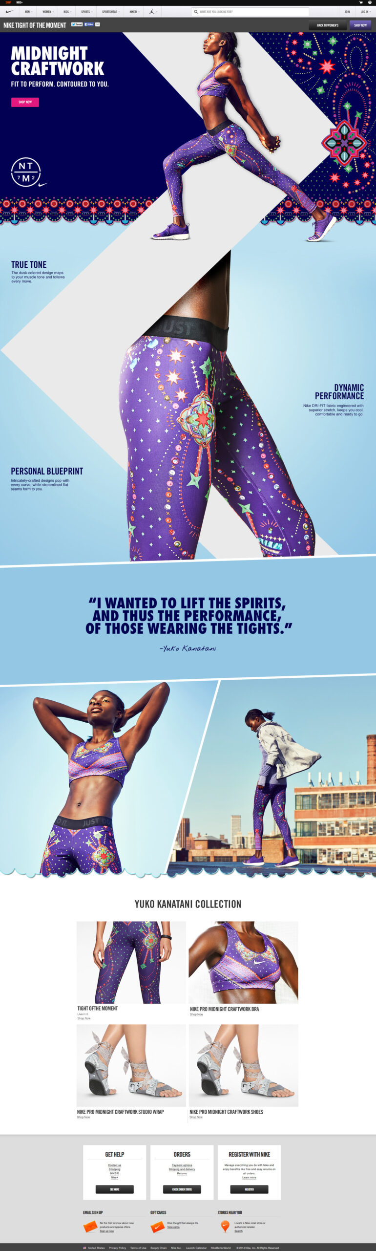 webdesign inspiration nike tights of the moment scaled design habitat