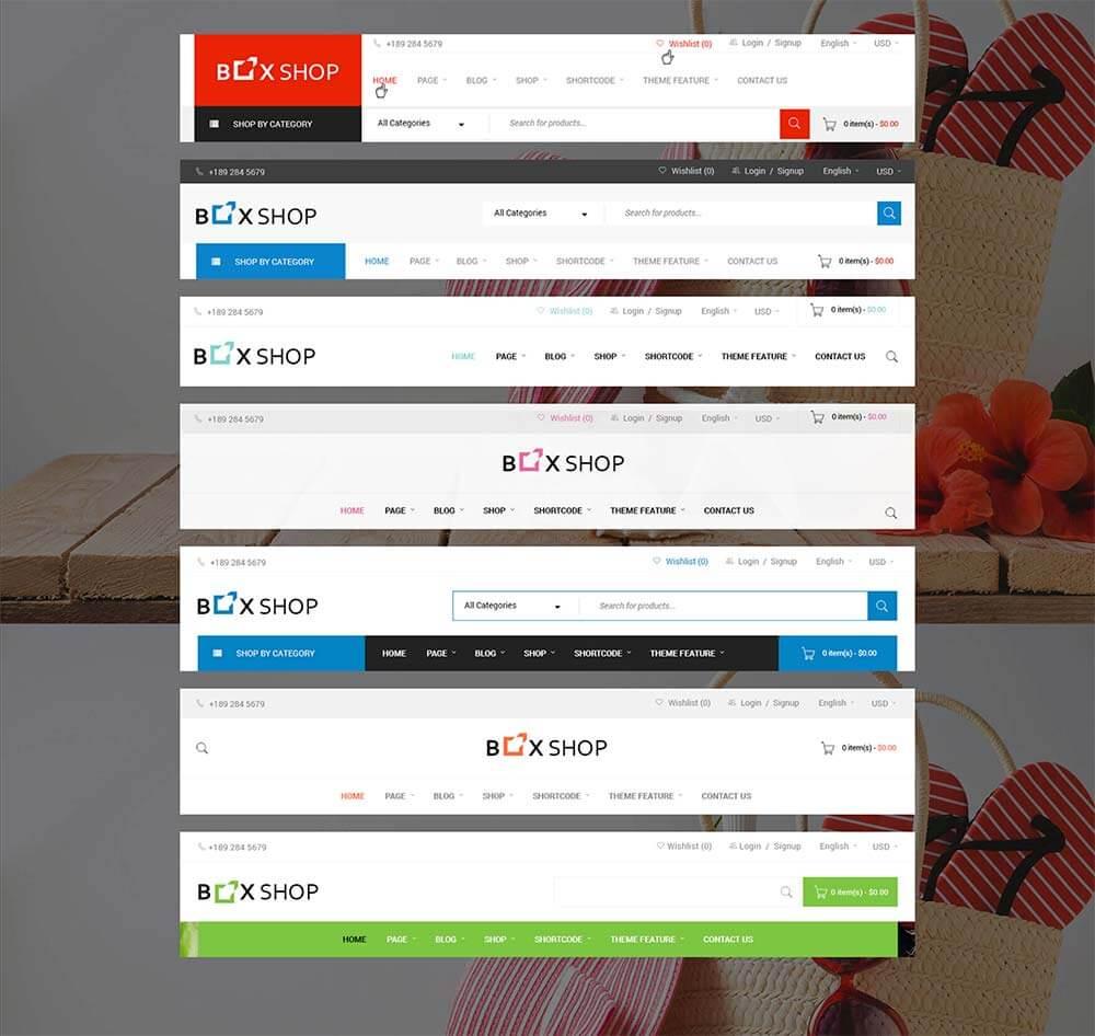 Boxshop WordPress Theme Header Optionen