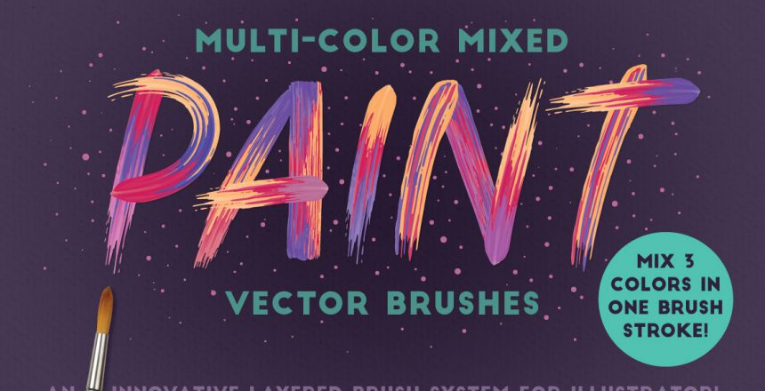 Multicolor Mixed Vektor Brush für Illustrator